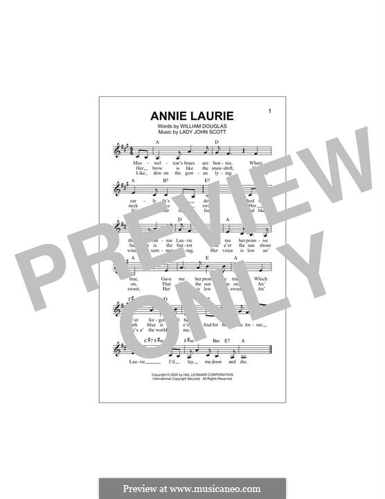 Annie Laurie: melodia by William Douglas