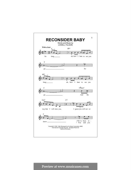 Reconsider Baby: melodia by Lowell Fulson