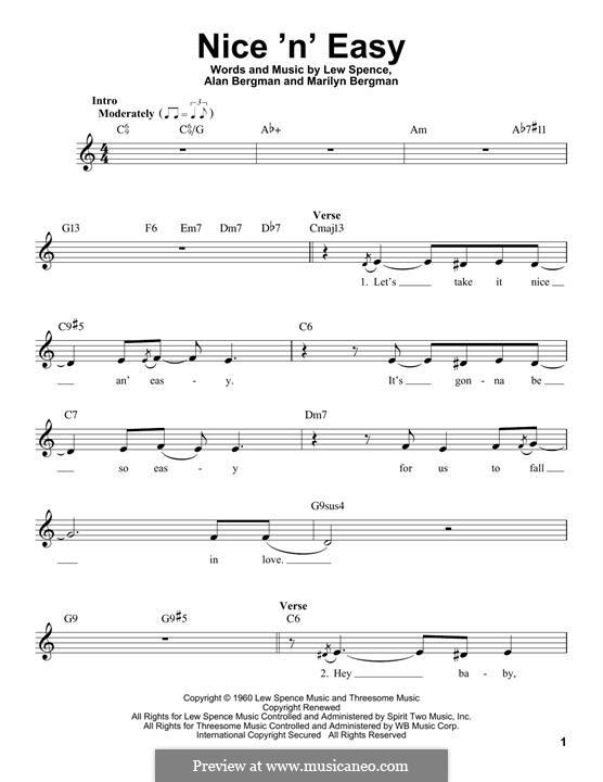 Nice 'n' Easy (Frank Sinatra): melodia by Alan Bergman, Lew Spence, Marilyn Bergman