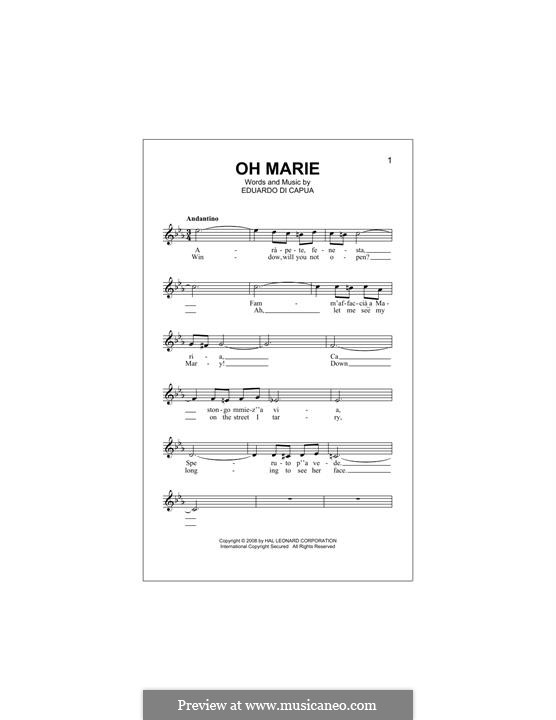 Oh Marie: melodia by Eduardo di Capua