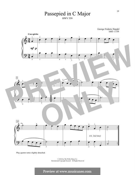 Passepied in C Major, HWV 559: Para Piano by Georg Friedrich Händel