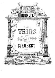 Two Piano Trios, Op.99, 100: Partitura completa by Franz Schubert