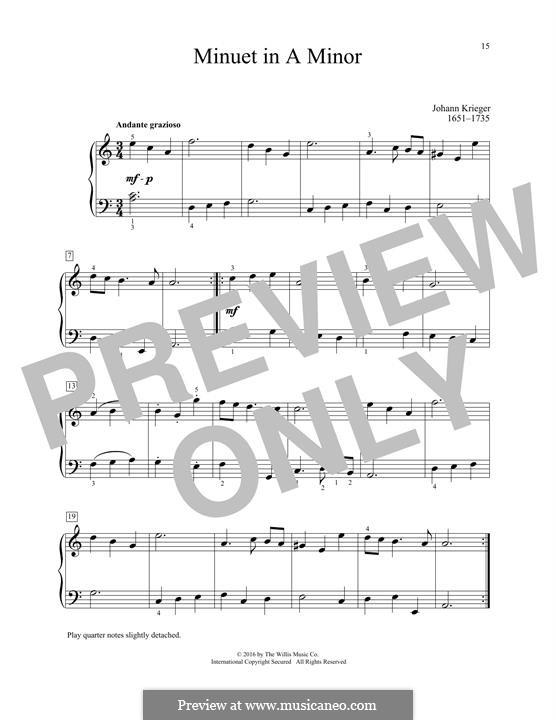 Menuet: Para Piano by Johann Krieger