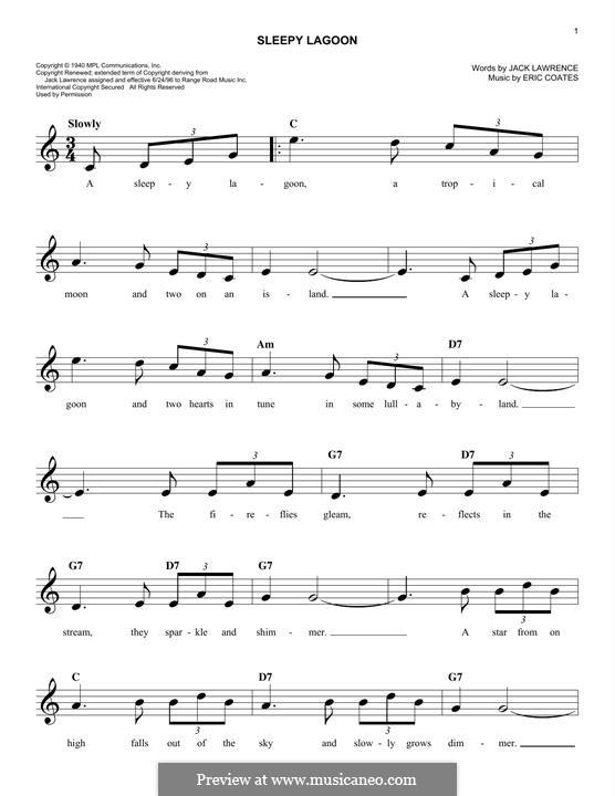 Sleepy Lagoon: melodia by Eric Coates