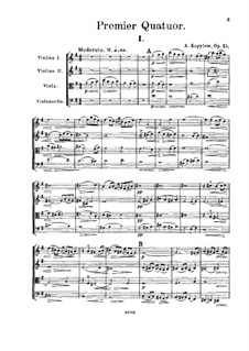 String Quartet No.1, Op.15: Partitura completa by Alexander Kopylov
