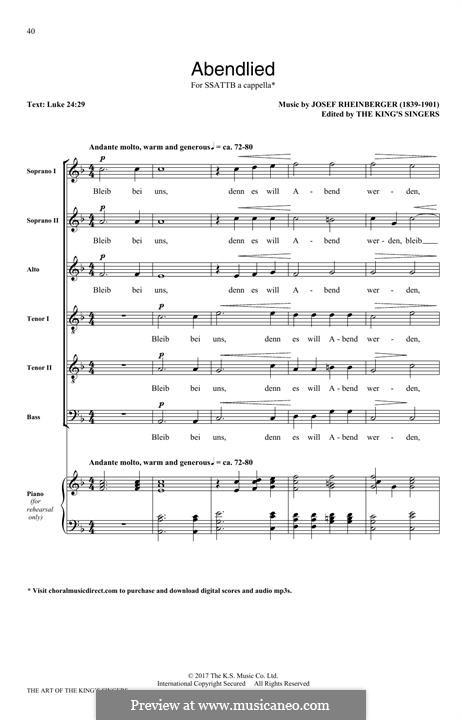 Abendlied, Op.69 No.3: para coro misto by Josef Gabriel Rheinberger