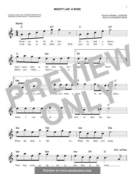 Mighty lak' a Rose: melodia by Ethelbert Woodbridge Nevin
