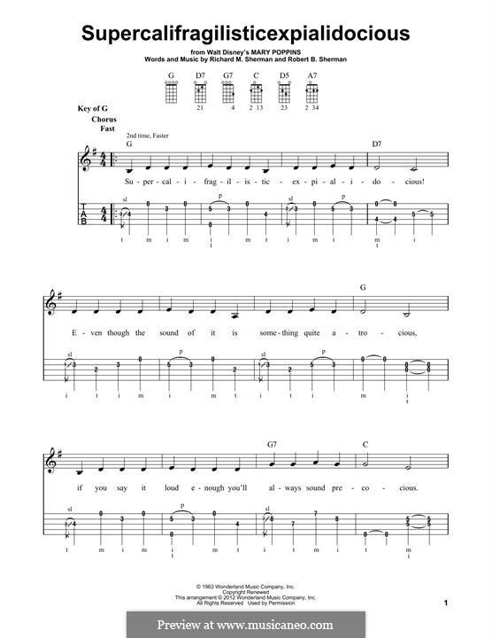 Supercalifragilisticexpialidocious (from Mary Poppins): For banjo by Richard M. Sherman, Robert B. Sherman