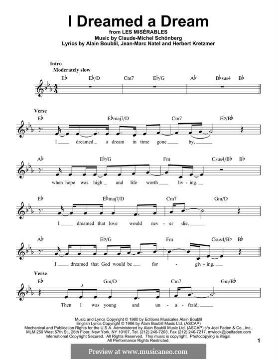 I Dreamed a Dream: melodia by Claude-Michel Schönberg