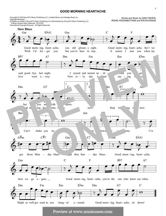 Good Morning Heartache (Billie Holiday): melodia by Daniel Fisher, Ervin Drake, Irene Higginbotham