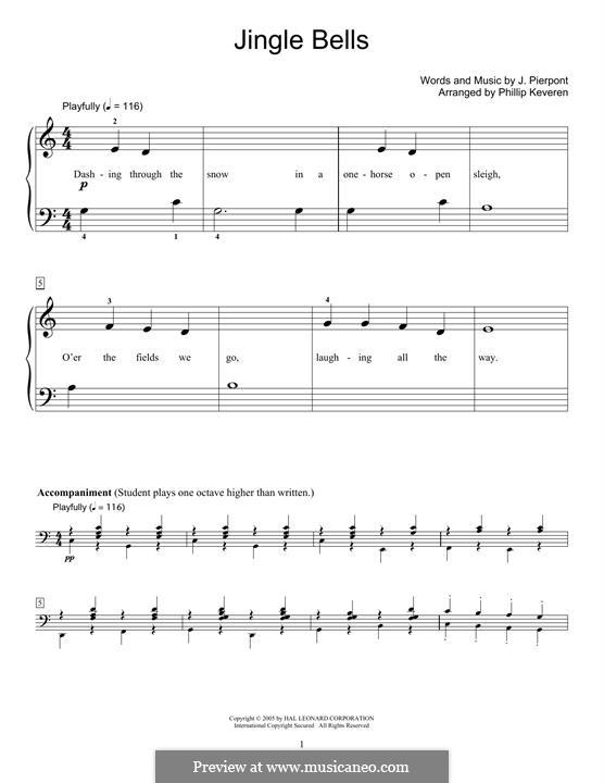 Jingle Bells, for Piano: para um único musico (Editado por H. Bulow) by James Lord Pierpont