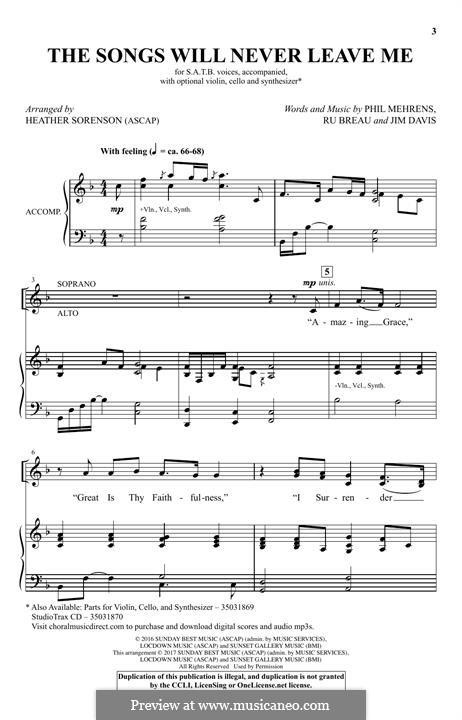 The Songs Will Never Leave Me: para coro misto by Jim Davis, Phil Mehrens, Ru Breau