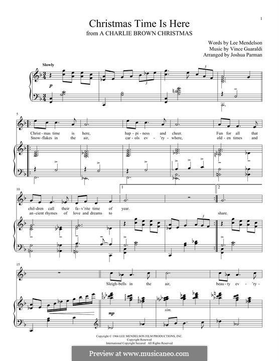 Christmas Time is Here: Para vocais e piano by Vince Guaraldi