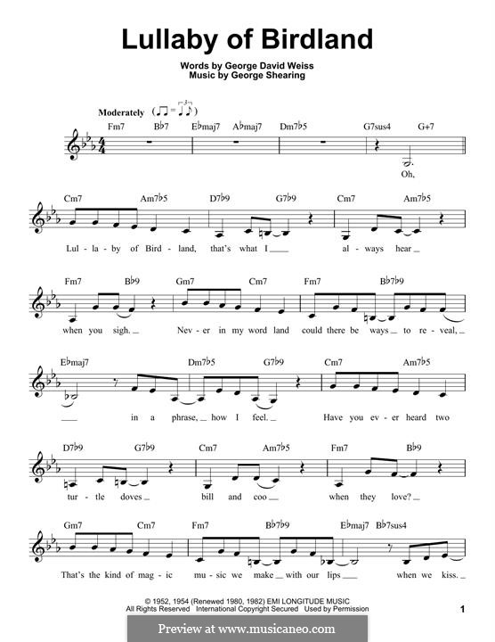 Lullaby of Birdland (Ella  Fitzgerald): melodia by George Shearing
