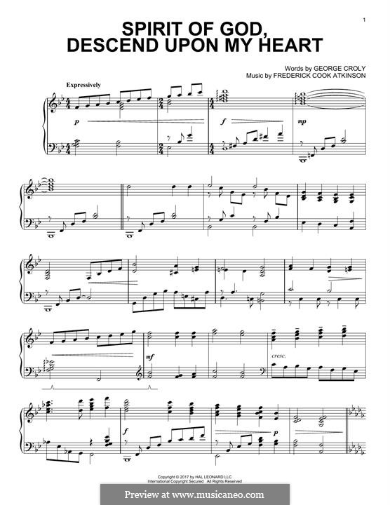 Spirit of God, Descend upon My Heart: Para Piano by Frederick Cook Atkinson