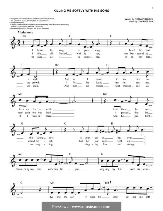 Killing Me Softly with His Song: melodia by Charles Fox