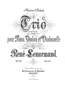 Piano Trio in G Minor, Op.30: Partitura completa by René Lenormand