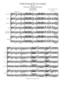 La Cetra (The Lyre). Twelve Violin Concertos, Op.9: No.2 Concerto in A Major – score and parts, RV 345 by Antonio Vivaldi