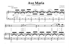 Ave Maria (Piano-vocal score), D.839 Op.52 No.6: For Mezzo-Soprano or Baritone (In Latin). Landscape in A-Flat Major by Franz Schubert