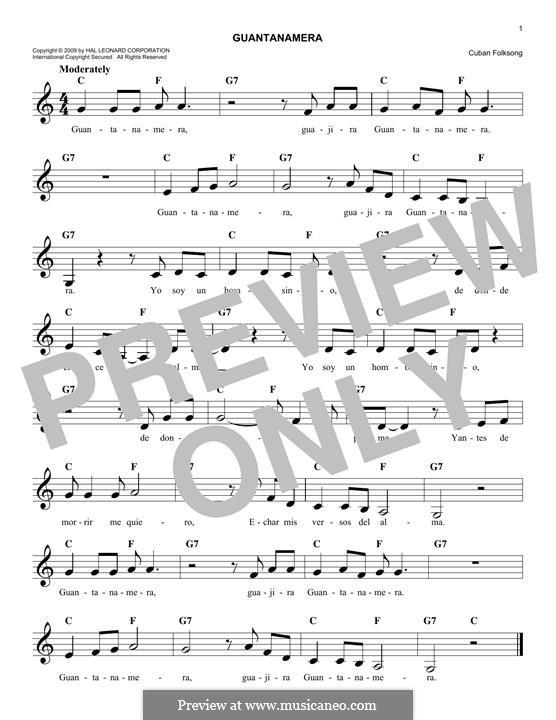 Guantanamera: melodia by folklore