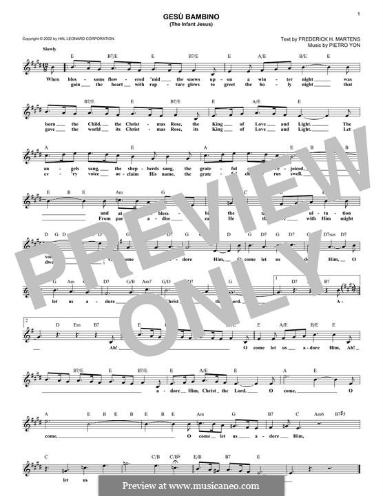 Gesu Bambino (The Infant Jesus): melodia by Pietro Yon