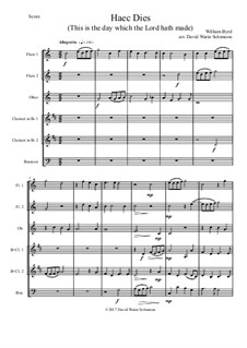 Haec Dies: For wind sextet (2 flutes, oboe, 2 clarinets, bassoon) by William Byrd