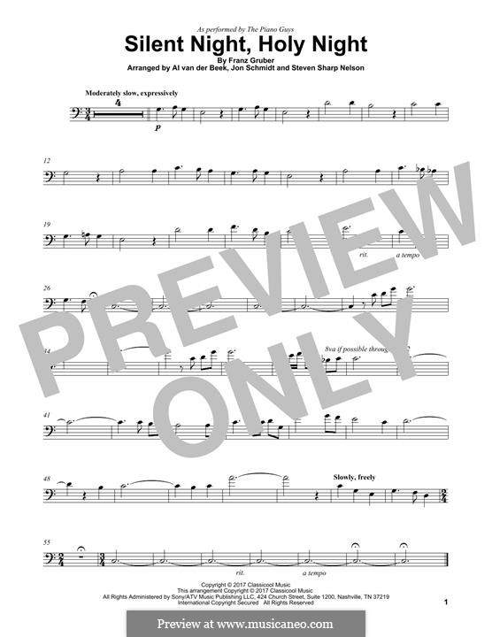 Silent Night (Printable): For cello (The Piano Guys) by Franz Xaver Gruber