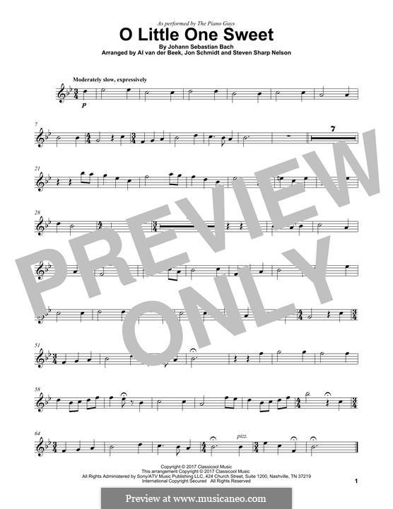 O Little One Sweet (The Piano Guys): para violino by Johann Sebastian Bach