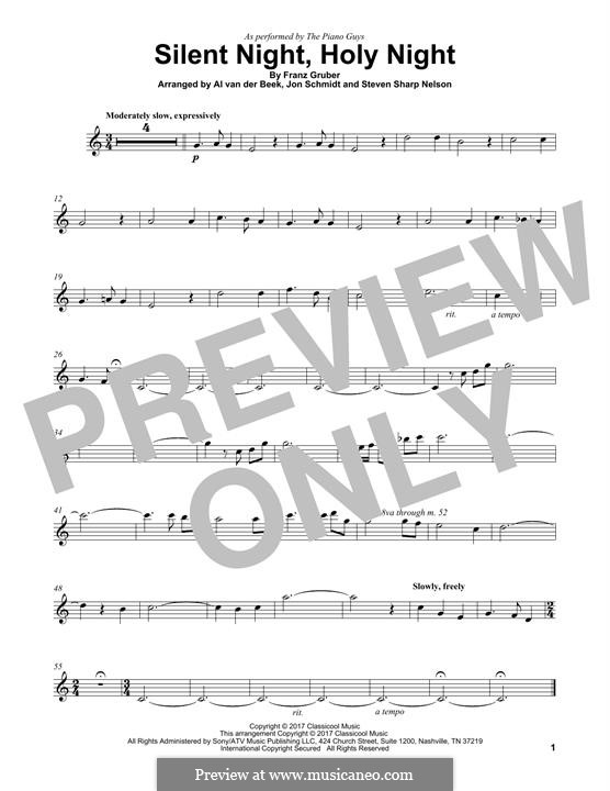Silent Night (Printable): For violin (The Piano Guys) by Franz Xaver Gruber