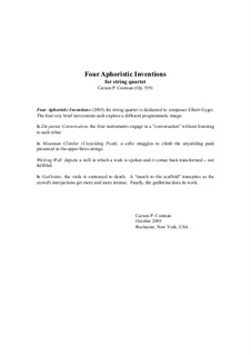 Four Aphoristic Inventions for string quartet, Op.519: Four Aphoristic Inventions for string quartet by Carson Cooman