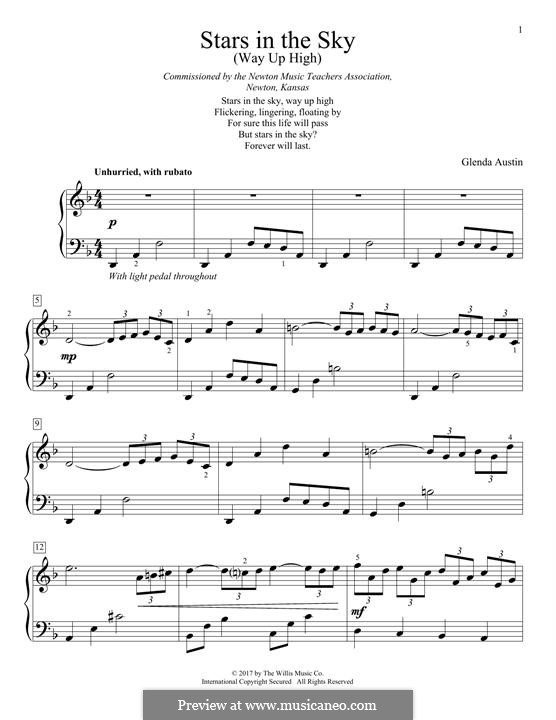 Stars in the Sky (Way Up High): Para Piano by Glenda Austin