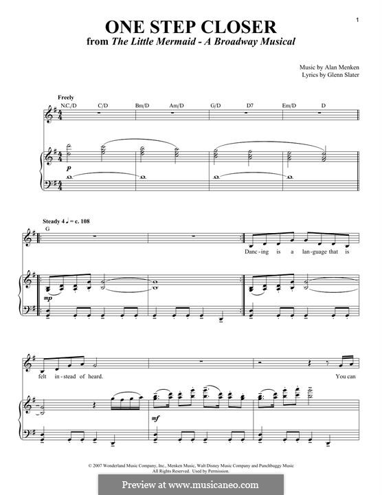 One Step Closer: Para vocais e piano by Alan Menken