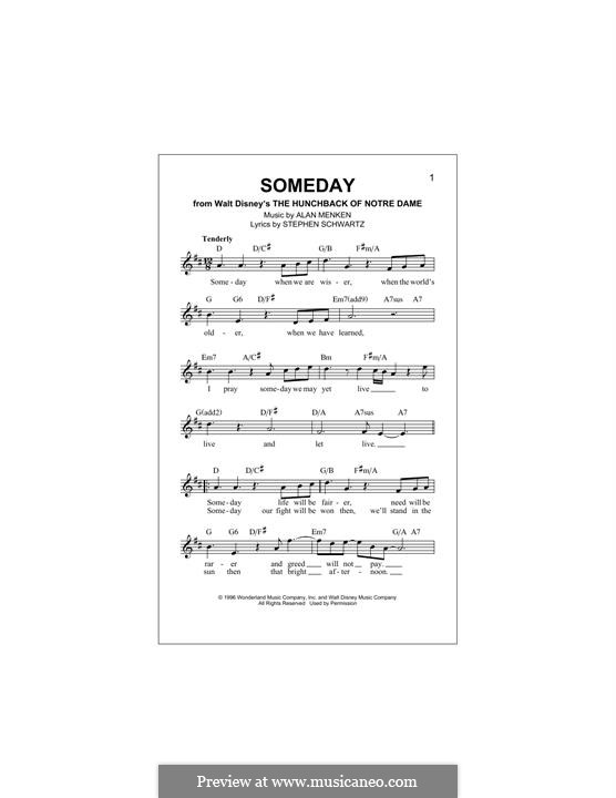 Someday (from Walt Disney's The Hunchback of Notre Dame): melodia by Alan Menken
