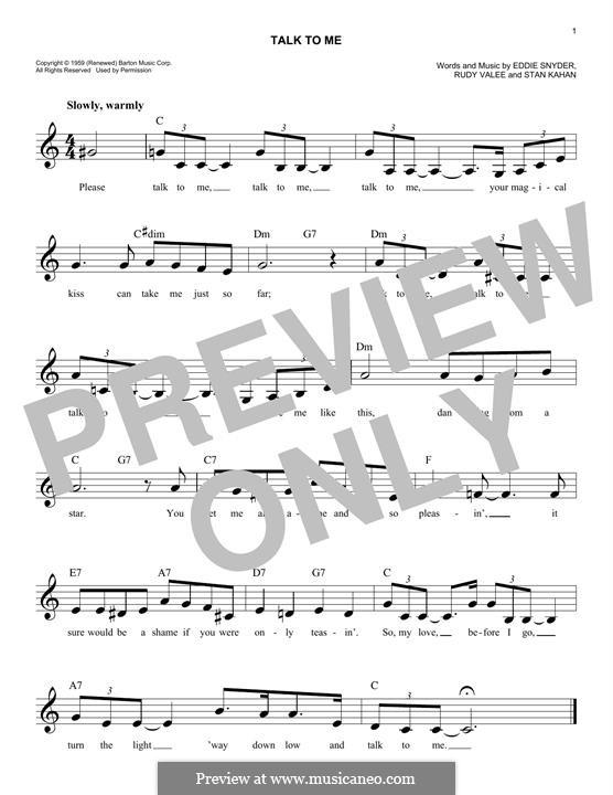 Talk To Me: melodia by Eddie Snyder, Rudy Valee, Stan Kahan