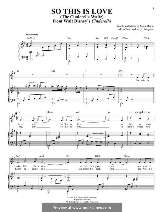 So This Is Love (The Cinderella Waltz): Para vocais e piano by Al Hoffman, Jerry Livingston, Mack David
