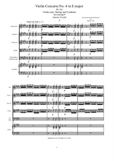 La Cetra (The Lyre). Twelve Violin Concertos, Op.9: No.4 Concerto in E Major – score and parts, RV 263 by Antonio Vivaldi