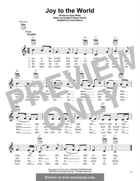Joy to the World (Printable Scores): para ukulele by Georg Friedrich Händel