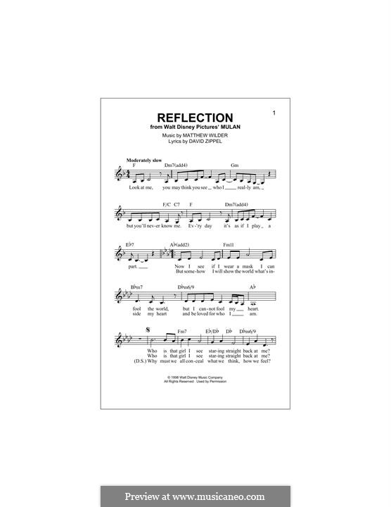 Reflection (from Disney's Mulan): melodia by Matthew Wilder