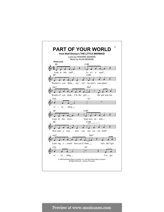 Part of Your World (from The Little Mermaid): melodia by Alan Menken