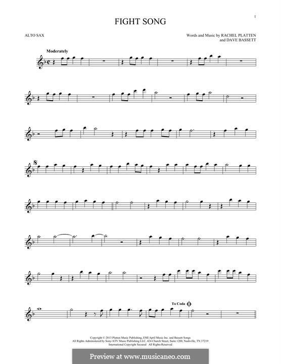 Fight Song: para Saxofone Alto by Dave Bassett, Rachel Platten