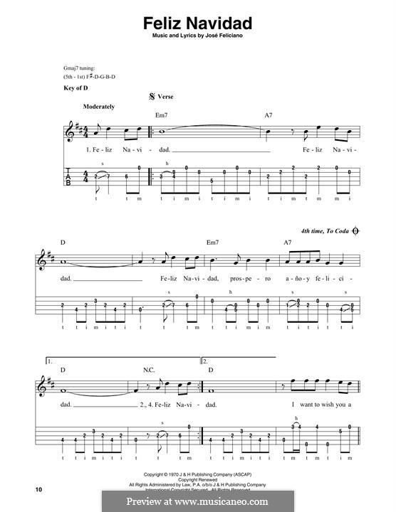 Feliz Navidad: For banjo by José Feliciano