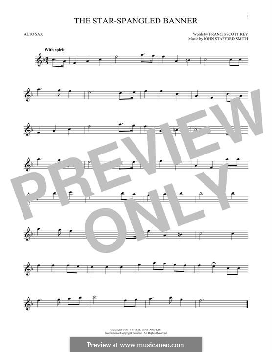 The Star Spangled Banner (National Anthem of The United States). Printable Scores: para Saxofone Alto by John Stafford Smith