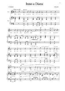 Inno a Diana: Para vocais e piano by Giacomo Puccini