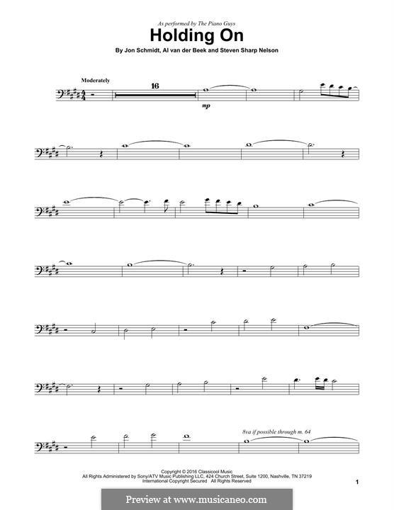 Holding On (The Piano Guys): para violoncelo by Jon Schmidt, Al van der Beek, Steven Sharp Nelson