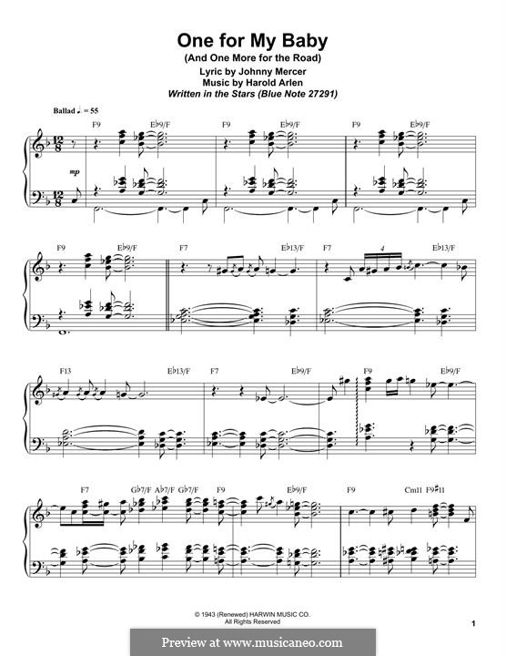 One for My Baby (And One More for the Road): Para Piano by Harold Arlen