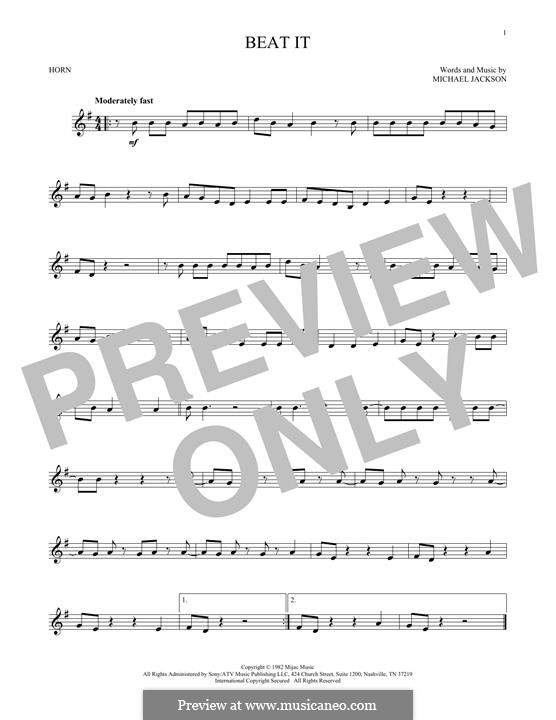 Beat It: For horn by Michael Jackson