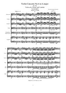 La Cetra (The Lyre). Twelve Violin Concertos, Op.9: No.6 Concerto in A Major – score and all parts, RV 348 by Antonio Vivaldi
