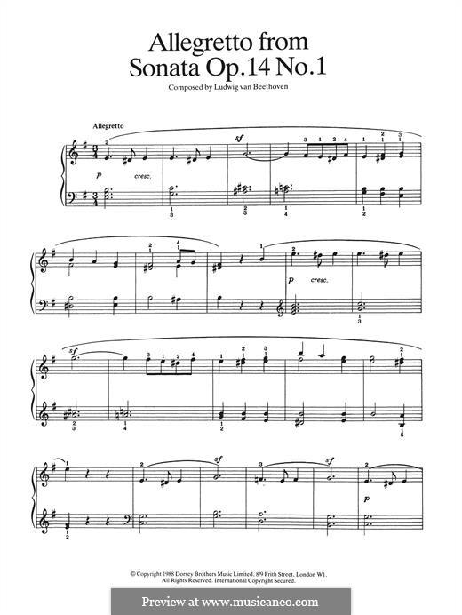 Sonata for Piano No.9, Op.14 No.1: Allegretto by Ludwig van Beethoven