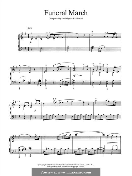 Marche Funebre (Funeral March): Para Piano by Ludwig van Beethoven