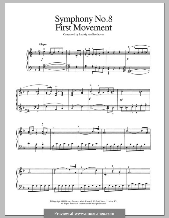 Movement I: For piano (fragment) by Ludwig van Beethoven
